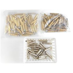 7.5 X 55 SWISS, 250 SAVAGE, 32 REM ASSORTED BRASS CASES