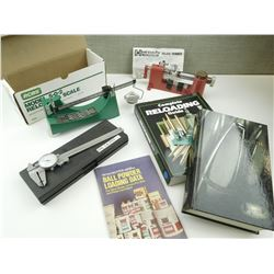 HORNADY DELUXE TRIMMER, RCBS SCALE, DIAL CALIPER, RELOADING BOOKS