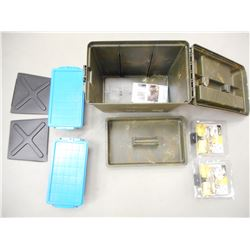 PLASTIC PLANO AMMO CASE, PLASTIC CONTAINERS, MAGNIFYING GLASS  WITH ARMS.