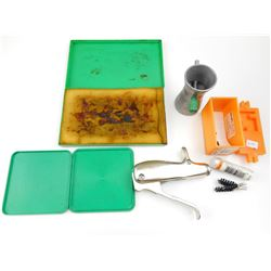 RELOADING PRIMER TOOL, CASE NECK CLEANER, TRICKLER, TRAYS