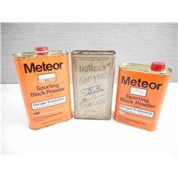 METEOR BLACK POWDER TIN, NOBEL'S EMPIRE SMOKELESS POWDER COLLECTIBLE TIN