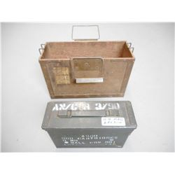 WOODEN BOX WITH METAL AMMO TIN