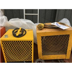 2 INDUSTRIAL SPACE HEATERS YELLOW 220 VOLT