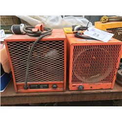 2 INDUSTRIAL SPACE HEATERS ORANGE 220 VOLT