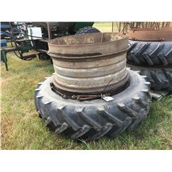 15.5-38 SINGLE TRACTOR TIRE & RIM PLUS SECOND RIM