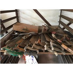 SHELF LOT OF ASSORTED HAND SAWS, WOOD PLANERS, NAIL PULLERS ECT.