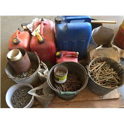 PALLET OF ASSORTED PAILS OF NAILS, SCREWS, WATER JUGS & JERRY CANS
