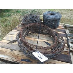 3 MISC SPOOLS OF BARBED WIRE