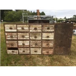 16 DRAWER & 1 DOOR WOODEN SHOP CABINET