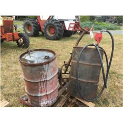 BARREL PUMP, BARREL DOLLEY AND 2 VINTAGE VICTORIA PETROLEUM LTD BARREL