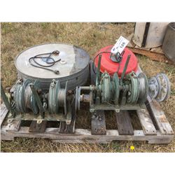 2 COMMERCIAL FISHING GURNEYS' WITH CABLE LINE, INCUBATOR & HEAT LAMP