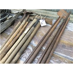 GROUP OF 11 HAND TOOLS - SHOVELS, PITCH FORKS, PRY-BARS, PICK-AXE, TIRE HAMMER ECT.