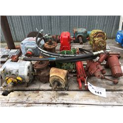 PALLET LOT OF ASSORTED HYDRAULIC PUMPS, MOTORS & GEAR BOXES