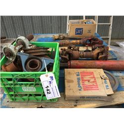 PALLET OF ASSORTED SHIMS, BEARINGS, POWER SHAFTS