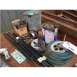 SMALL GROUP OF ASSORTED MISC. ITEMS - CLOTHLINE & PULLEY & OTHER MISC