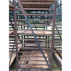 ROLLING METAL MATERIAL RACK  APROX. 6' WIDE X 3' DEEP & 7' TALL