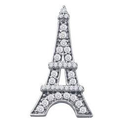 0.32 CTW Diamond Eiffel Tower Fashion Pendant 10KT White Gold - REF-26F9N