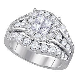 2.1 CTW Princess Diamond Soleil Halo Bridal Ring 14KT White Gold - REF-240X2Y