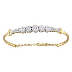 1 CTW Diamond Cluster Promise Bangle Bracelet 10KT Yellow Gold - REF-97Y4X