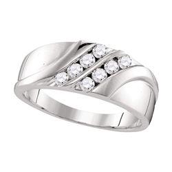 0.50 CTW Mens Diamond Wedding Ring 10KT White Gold - REF-52N4F