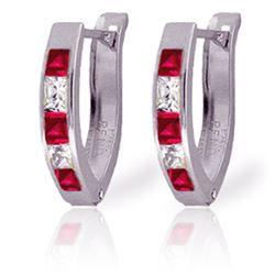 Genuine 1.26 ctw Ruby & White Topaz Earrings Jewelry 14KT White Gold - REF-26F2Z