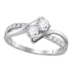 0.57 CTW Diamond 2-stone Bridal Wedding Engagement Ring 10KT White Gold - REF-71M3H