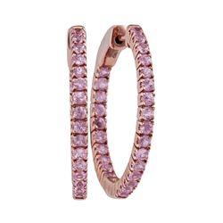 1.95 CTW Natural Pink Sapphire Hoop Earrings 14KT Rose Gold - REF-75N2F