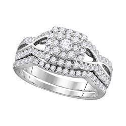 1 CTW Diamond Split-shank Bridal Engagement Ring 14KT White Gold - REF-89W9K