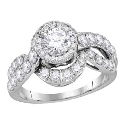 1.99 CTW Diamond Bridal Wedding Engagement Anniversary Ring 14k White Gold - REF-400X4Y