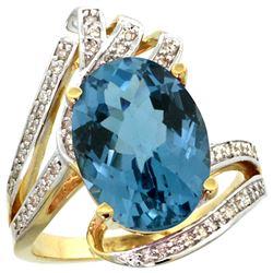 Natural 5.76 ctw london-blue-topaz & Diamond Engagement Ring 14K Yellow Gold - REF-94K6R