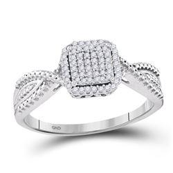 0.15 CTW Diamond Square Cluster Tapered Bridal Engagement Ring 10KT White Gold - REF-20M9H