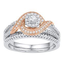 0.50 CTW Diamond Bridal Wedding Engagement Ring 10KT Two-tone Gold - REF-57F2N