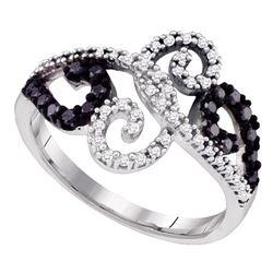 0.33 CTW Black Color Diamond Whimsical Swirled Cocktail Ring 10KT White Gold - REF-30M2H