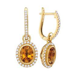 1.44 CTW Oval Citrine Diamond Dangle Hoop Earrings 14KT Yellow Gold - REF-104X9Y
