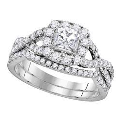 1 CTW Diamond Princess EGL Certified Bridal Engagement Ring 14KT White Gold - REF-127W4K