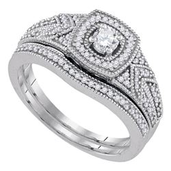 0.38 CTW Diamond Filigree Bridal Engagement Ring 10KT White Gold - REF-59K9W