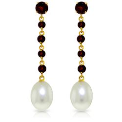 Genuine 10 ctw Garnet & Pearl Earrings Jewelry 14KT Yellow Gold - REF-32A4K