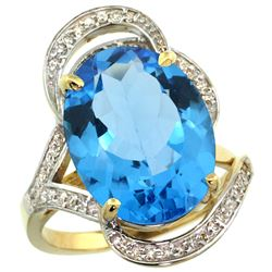 Natural 11.23 ctw swiss-blue-topaz & Diamond Engagement Ring 14K Yellow Gold - REF-104V5F