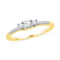 0.25 CTW Diamond 3-stone Bridal Engagement Ring 10KT Yellow Gold - REF-25X4Y