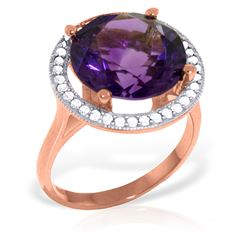 Genuine 6.2 ctw Amethyst & Diamond Ring Jewelry 14KT Rose Gold - REF-91Z4N