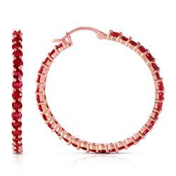 Genuine 6 ctw Ruby Earrings Jewelry 14KT Rose Gold - REF-125R6P