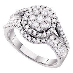 1 CTW Diamond Flower Cluster Cocktail Ring 14KT White Gold - REF-119W9K