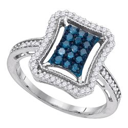 0.50 CTW Blue Diamond Indented Rectangle Cluster Ring 10KT White Gold - REF-34W4K