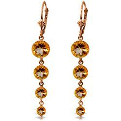 Genuine 7.8 ctw Citrine Earrings Jewelry 14KT Rose Gold - REF-46X3M