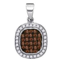 0.25 CTW Brown Color Diamond Fashion Pendant 10KT White Gold - REF-14Y9X