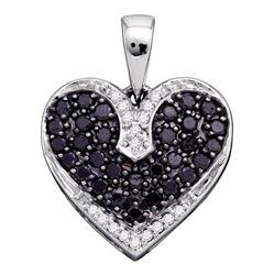 0.51 CTW Black Color Diamond Dainty Heart Pendant 10KT White Gold - REF-22X4Y