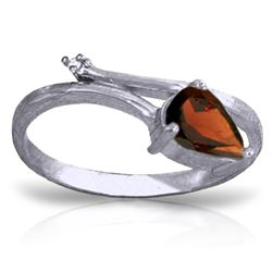 Genuine 0.83 ctw Garnet & Diamond Ring Jewelry 14KT White Gold - REF-40K5V
