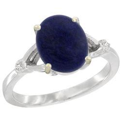 Natural 2.51 ctw Lapis & Diamond Engagement Ring 10K White Gold - REF-22K5R