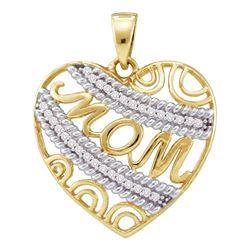 0.10 CTW Diamond Mom Mother Filigree Heart Pendant 10KT Yellow Gold - REF-14F9N