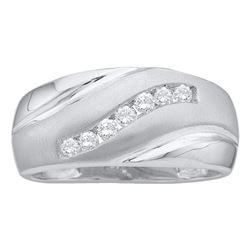 0.25 CTW Mens Diamond Single Row Brushed Wedding Ring 14KT White Gold - REF-30Y2X